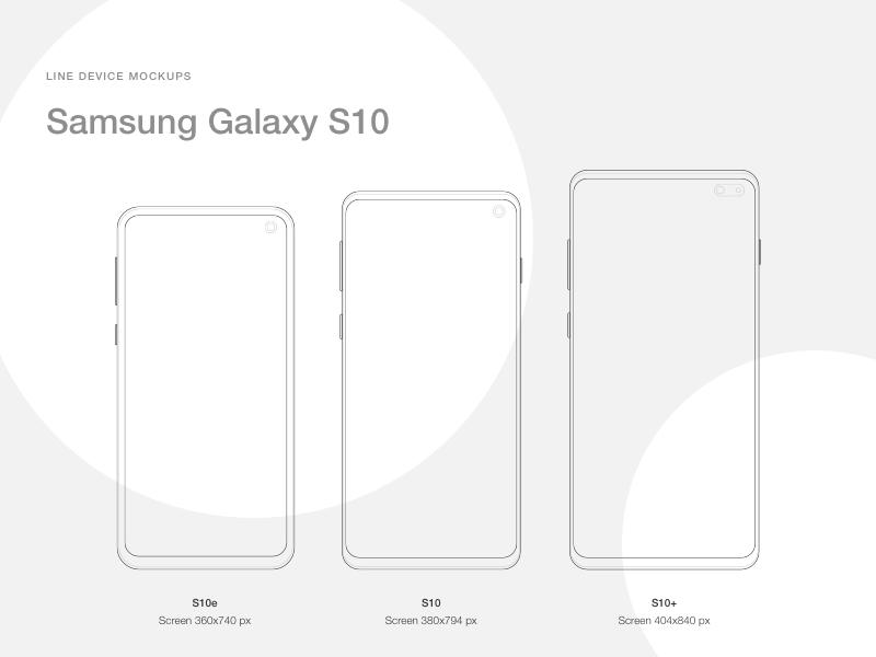 三星Galaxy S10 线框式样机素材 - Sketch 设计素材