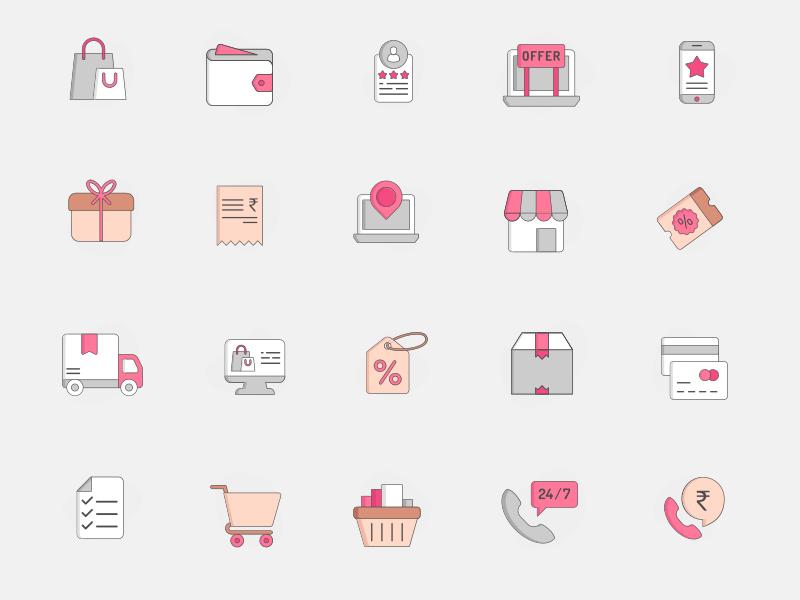 20+ 粉色系电子商务图标 -  Sketch 设计素材