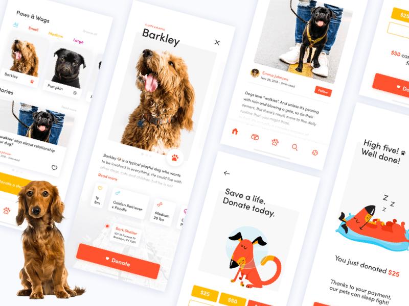 爱心狗狗捐赠APP UI – Sketch 模板免费下载