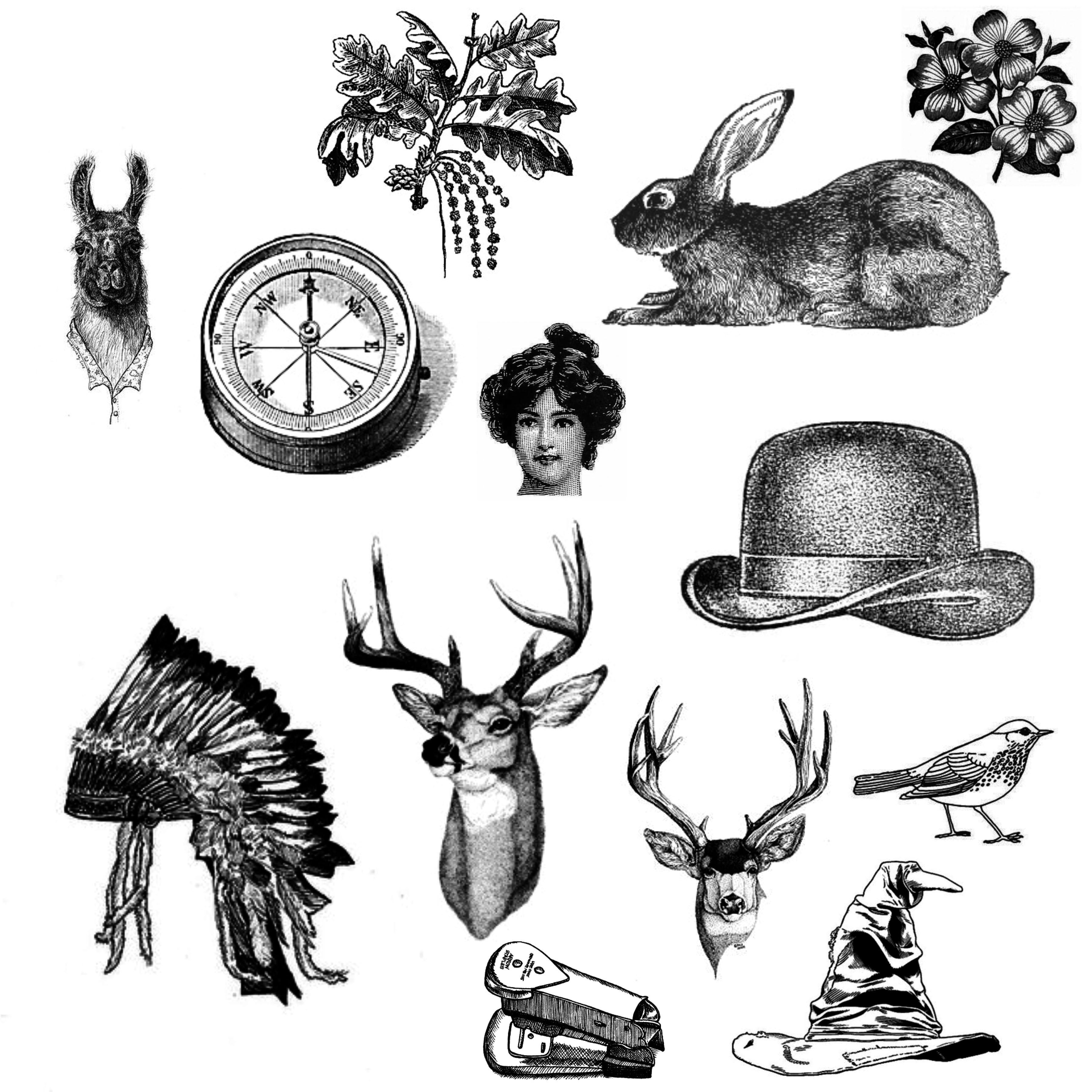 复古式兔子、帽子、鹿头、小鸟等装备元素PS笔刷素材