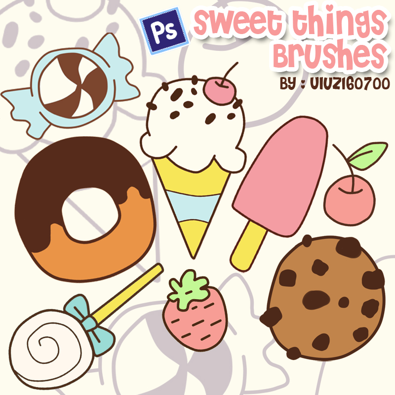 可爱卡通糖果、甜甜圈、甜食PS笔刷下载