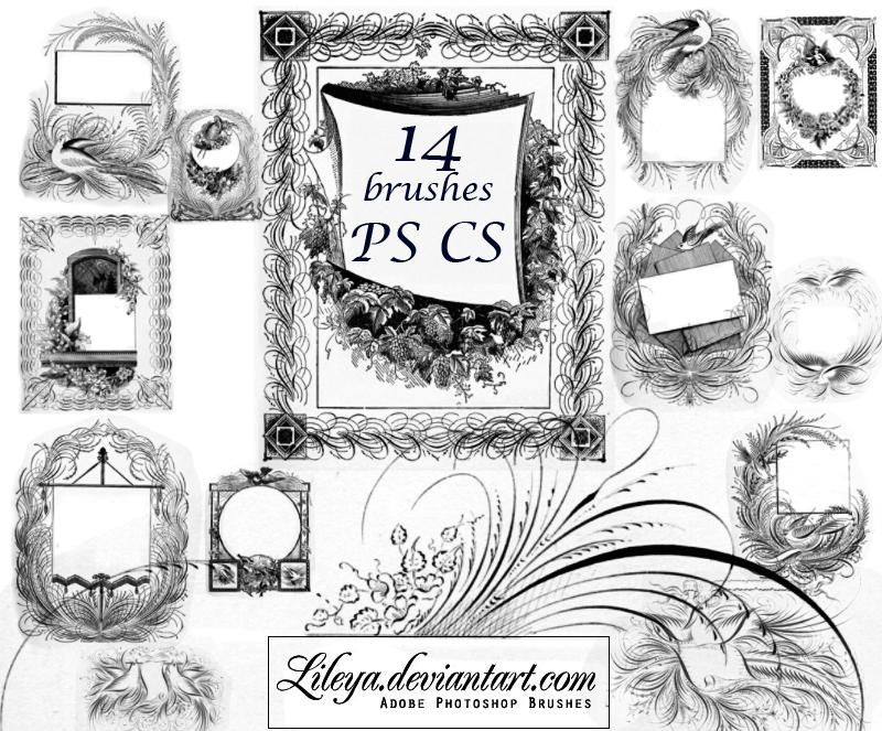 14种高清茂密线条边框图案PS笔刷下载