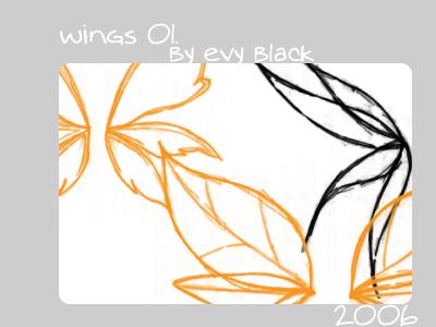手绘素描式翅膀图案PS笔刷素材下载