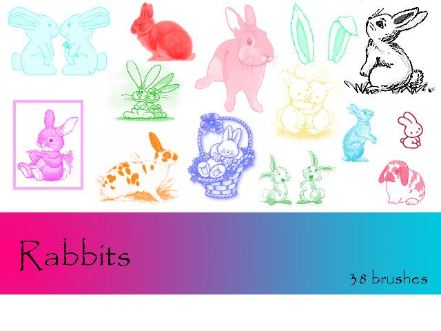 可爱小白兔、兔子造型PS笔刷下载