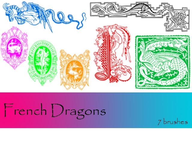 恶龙徽章、魔龙标志、西方魔龙图案PS素材笔刷