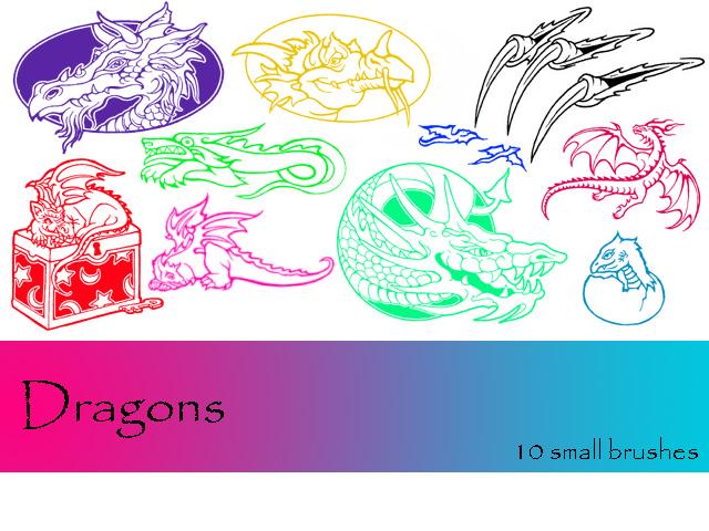 西方巨龙头像、恶龙、魔龙图案PS笔刷下载