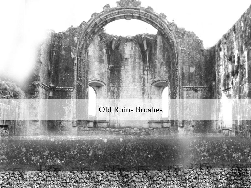 9种废墟和石墙环境状态PS笔刷下载