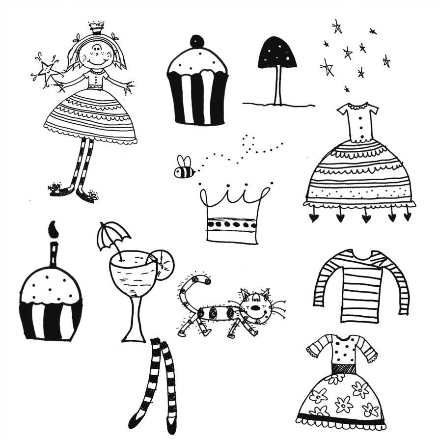 手绘童趣少女心公主、蛋糕、花猫、长筒袜等PS美图笔刷