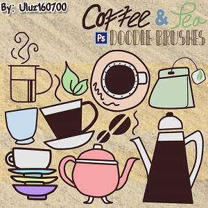 卡通咖啡杯、咖啡壶、茶杯、茶壶、茶包等PS笔刷下载