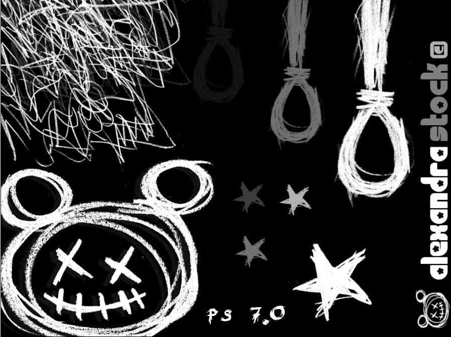 可爱的童趣线条划痕涂鸦PS美图笔刷