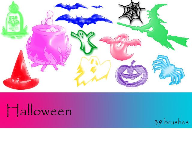 巫女、巫婆、蝙蝠、坟墓、幽灵、恐怖南瓜等图像PS万圣节笔刷