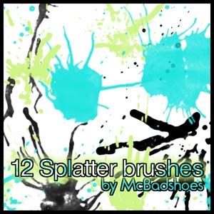 12种水笔颜料滴溅纹理效果PS笔刷下载