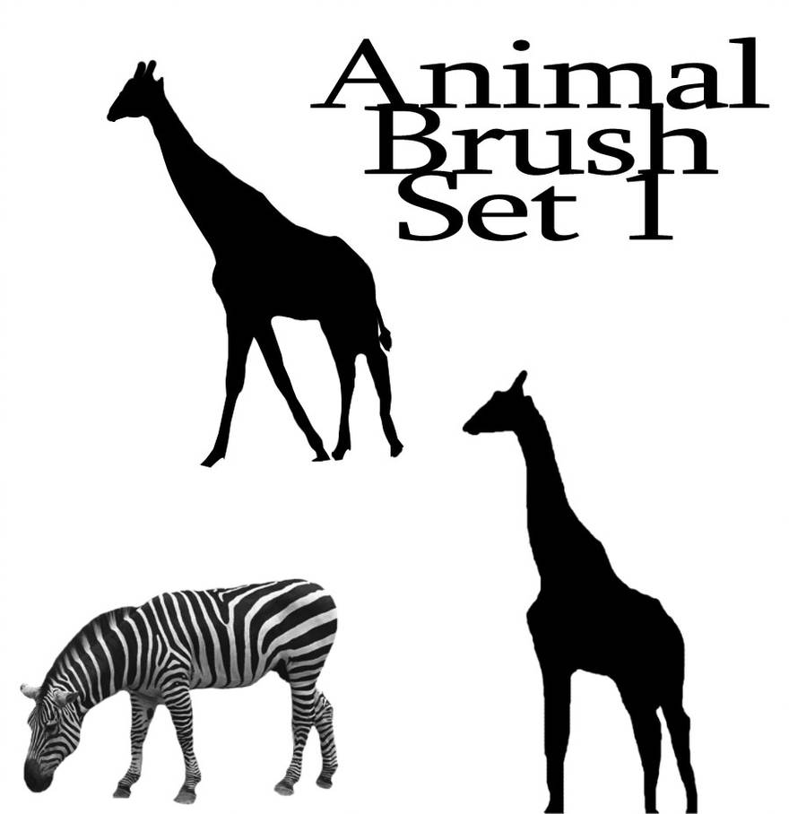 长颈鹿动物剪影图形PS笔刷素材下载
