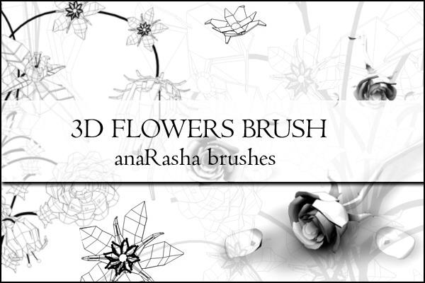手绘3D折线花朵图案PS笔刷素材下载