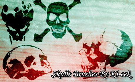 恐怖骷髅头、头颅图案PS笔刷下载
