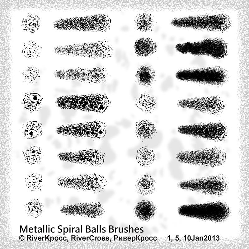 金属螺旋纹理效果笔触PS笔刷素材下载