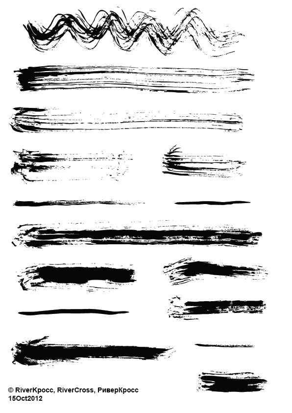 超酷毛笔刷子涂痕Illustrator线条笔刷、Ai画笔