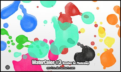 水彩、油彩液体滴溅、颜料溅射纹理PS笔刷下载