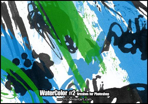 水彩涂鸦痕迹纹理效果PS笔刷下载