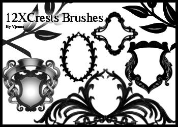 12种装饰性花纹图案PS笔刷素材