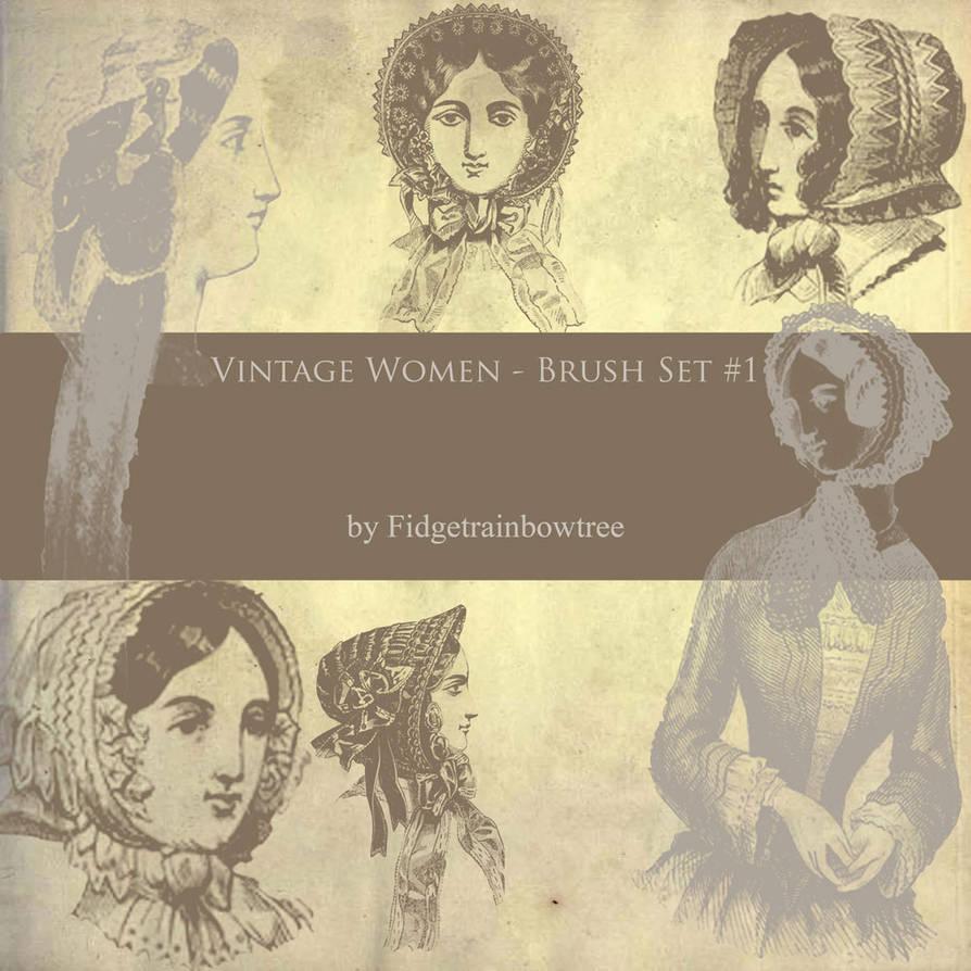 复古式欧洲女性图案画像PS笔刷下载