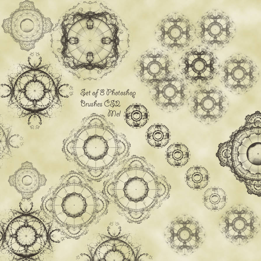 8种新颖花纹图案、旋转对称印花PS笔刷下载