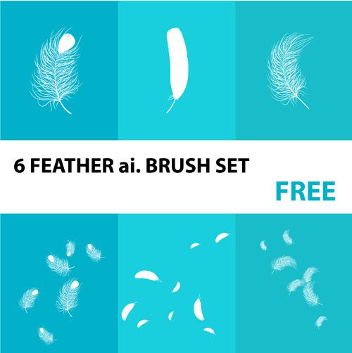 6种羽毛效果Ai刷子素材(适量笔刷素材)
