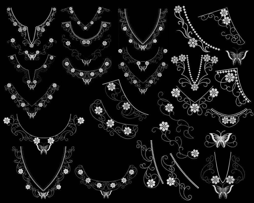 项链风格的蕾丝边花纹图案PS笔刷下载