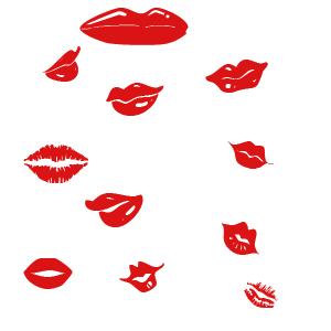 性感红唇、口红印迹图案PS笔刷素材下载