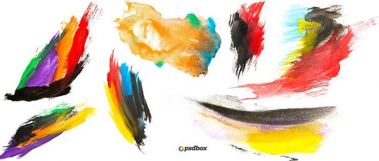水彩、油墨涂抹划痕PS痕迹笔刷素材
