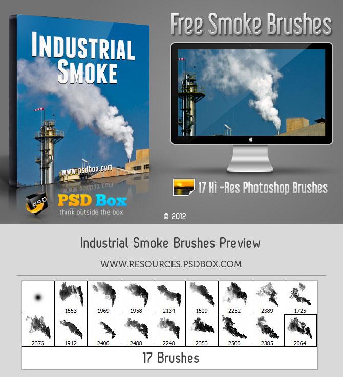 17种高清燃烧的烟雾、烟囱效果、污染排放PS笔刷下载
