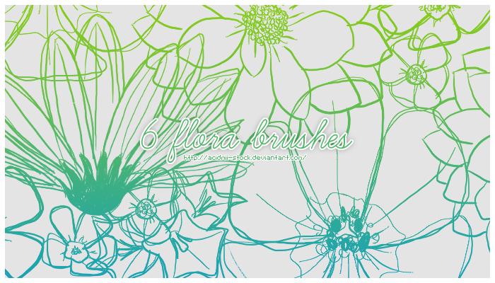 6个手绘线条式鲜花图案PS笔刷素材