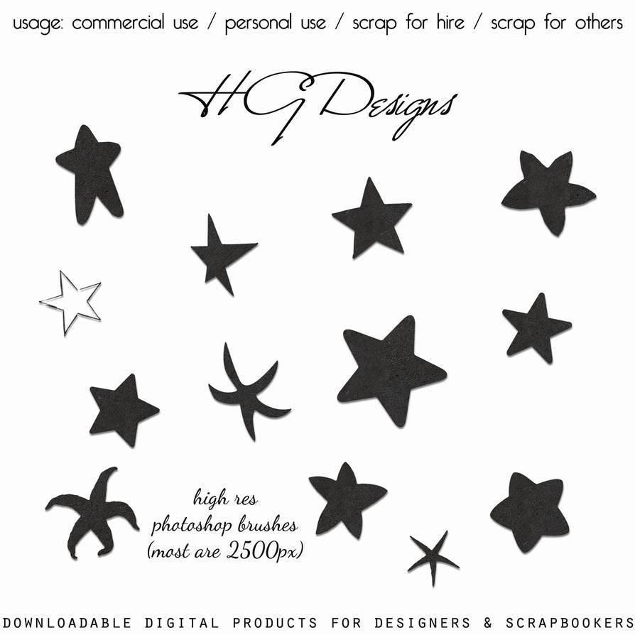 海星、五角星、星星图案PS笔刷素材