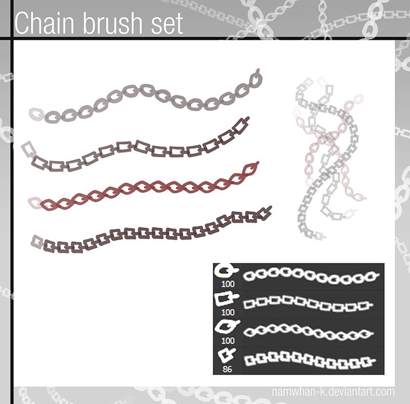 四种铁链、链条、锁链纹理PS笔刷下载