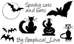 万圣节蝙蝠图形、黑猫卡通剪影PS笔刷素材下载
