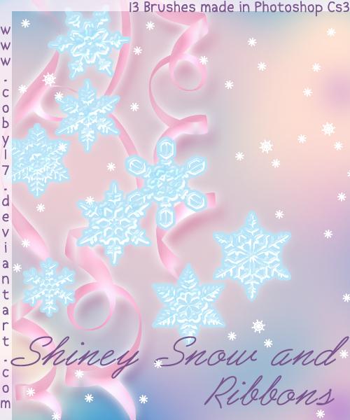雪花图案、圣诞节印花装饰PS笔刷素材
