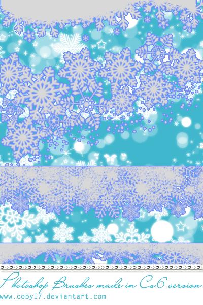 漂亮的雪花、圣诞节印花图案PS笔刷素材