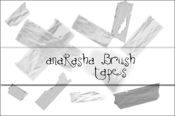 透明胶布素材、撕扯的胶带图形PS笔刷素材