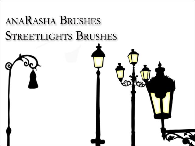 卡通路灯、欧美系路灯图案PS笔刷素材