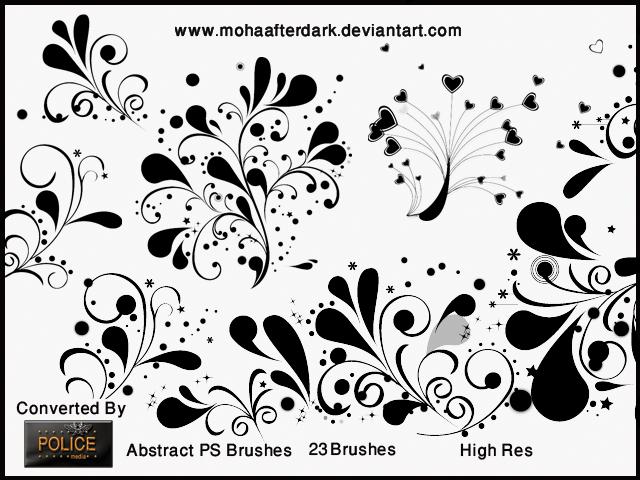 涂鸦风格的艺术花纹图案PS笔刷素材