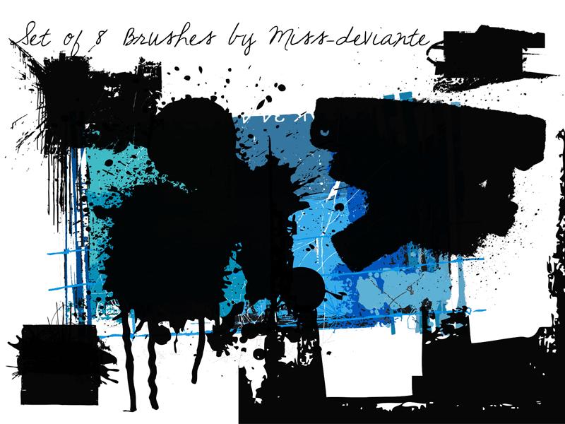 油漆泼墨效果、涂鸦喷溅纹理PS笔刷素材