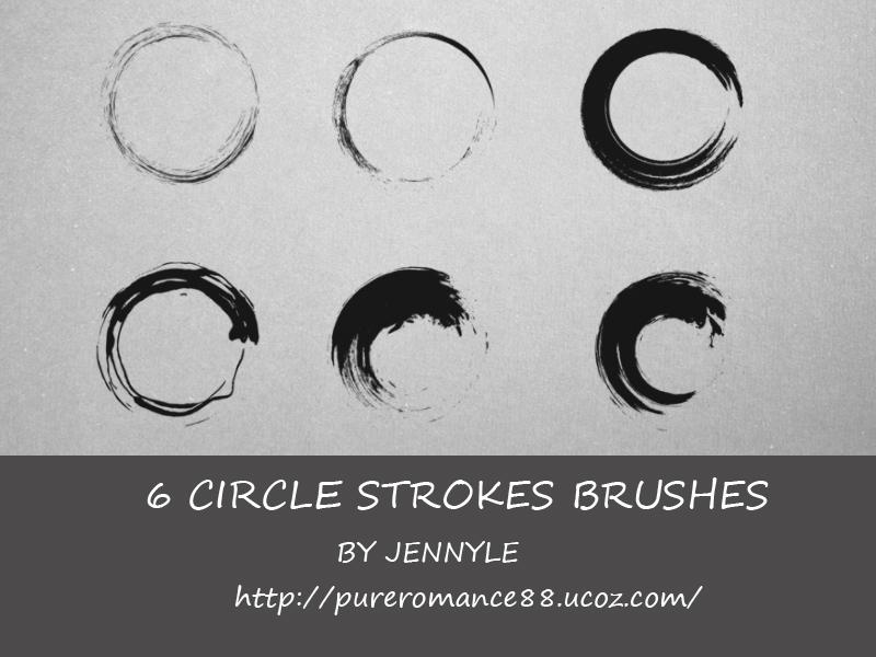 6种圆圈式毛笔刷子图案PS笔刷素材