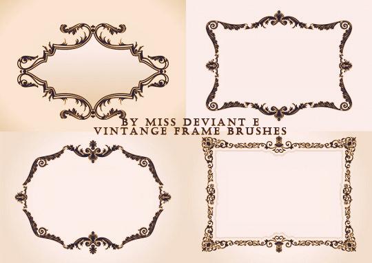 欧式古典印花图案边框装饰PS笔刷素材