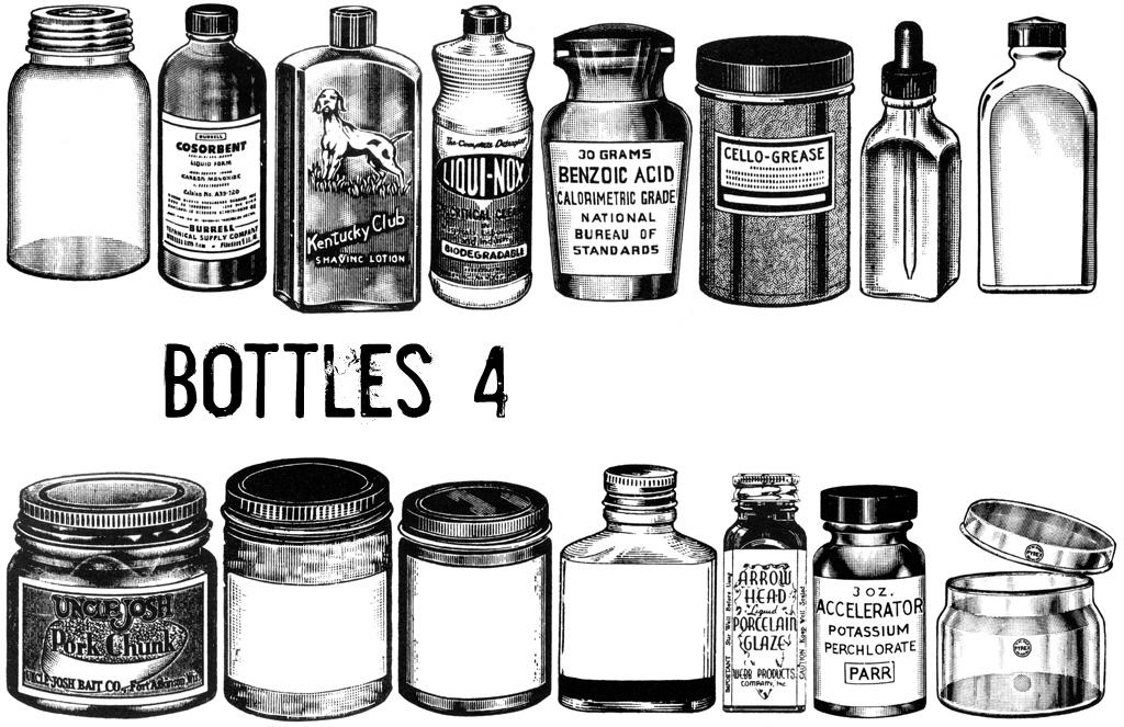 各种欧美复古式药瓶、酒瓶等PS笔刷素材下载