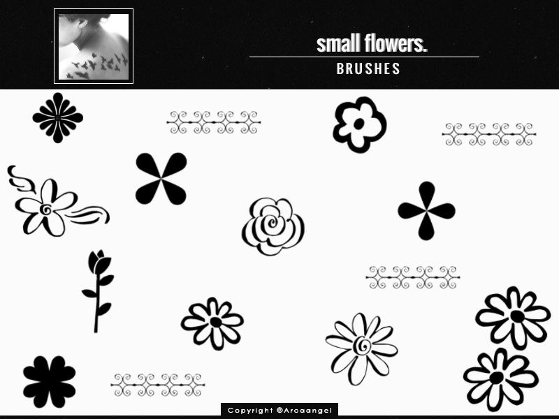 手绘可爱小花朵图案Photoshop印花笔刷