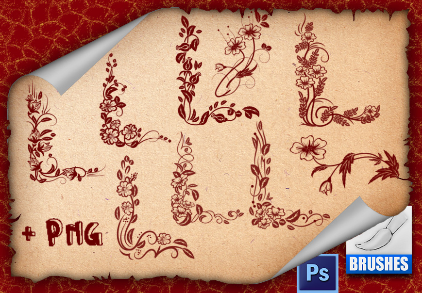 精美的边角式植物花纹图案PS笔刷下载
