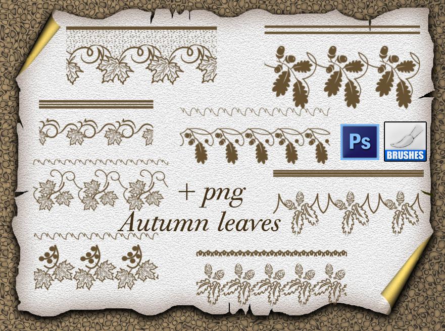 圣诞节植物叶子装饰边纹PS印花笔刷