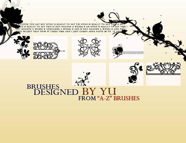 植物艺术印花、花朵图案PS装饰笔刷素材