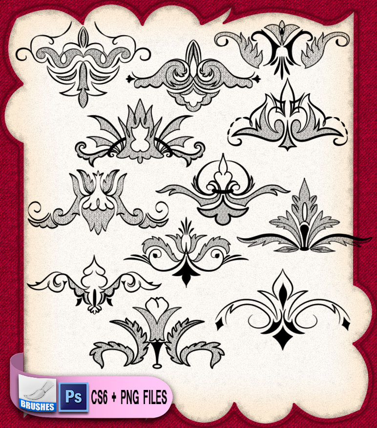 贵族式植物印花图案PS花纹笔刷
