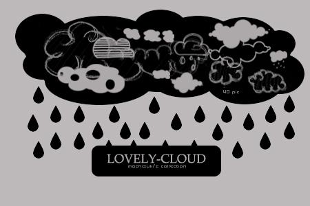 可爱卡通下雨的云朵图案PS笔刷下载
